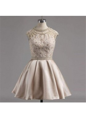 Jewel Appliques Beading Hollow Cap Sleeve A Line Satin Pleated Ivory Homecoming Dresses