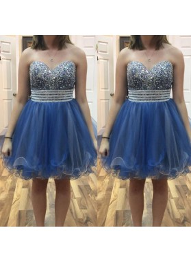 A Line Organza Blue Strapless Sweetheart Rhinestone Beading Pleated Homecoming Dresses