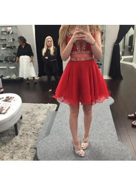 A Line Red Organza Pleated Sleeveless V Neck Beading Sheer Homecoming Dresses
