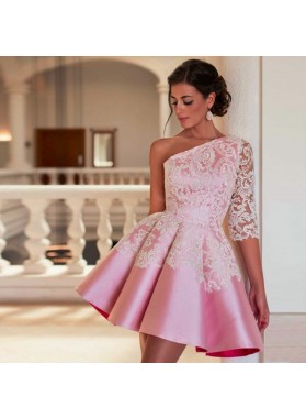One Shoulder Pink Half Sleeve Appliques Flowers Hollow Satin Pleated Homecoming Dresses