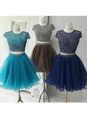 Cap Sleeve A Line Two Pieces Organza Pleated Rhinestone Round Neck Homecoming Dresses