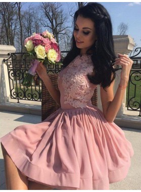 Jewel Sleeveless A Line Pleated Pink Satin Appliques Flowers Homecoming Dresses