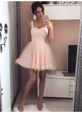 Straps Sleeveless A Line Sweetheart Tulle Pink Sexy Pleated Homecoming Dresses