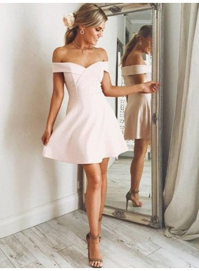 Satin Off The Shoulder A Line Short Pearl Pink V Neck Homecoming Dresses