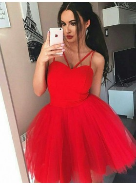Spaghetti Straps Ball Gown Pleated Tulle Sleeveless Red Homecoming Dresses