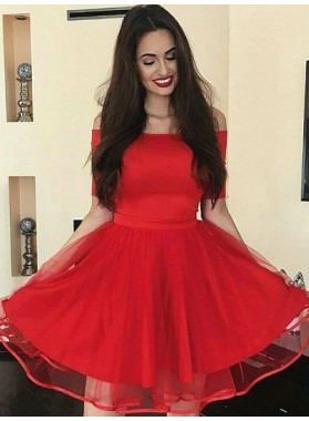 Off The Shoulder Half Sleeve A Line Pleated Organza Red Short Homecoming Dresses