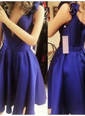 Royal Blue Deep V Neck Satin Pleated Straps Bowknot A Line Elegant Homecoming Dresses