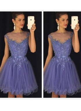 Jewel Sheer Cap Sleeve A Line Organza Appliques Pleated Flowers Homecoming Dresses
