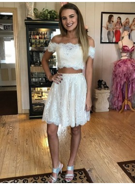 Off The Shoulder Two Pieces A Line Lace White Appliques Pleated Homecoming Dresses