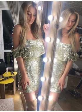 Off The Shoulder Gold Sheath Short Sexy Sequins Sparkle Charming Homecoming Dresses