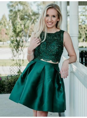 Jewel Ball Gown Sleeveless Dark Green Appliques Lace Two Pieces Satin Homecoming Dresses
