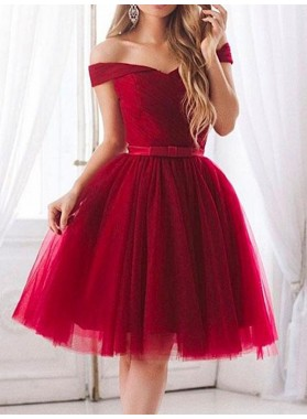 Tulle Burgundy Off The Shoulder Ball Gown V Neck Bowknot Pleated Homecoming Dresses