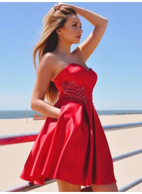 Sweetheart Strapless A Line Satin Red Pleated Backless Short Homecoming Dresses
