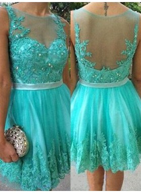 Turquoise Sheer Sleeveless Jewel Pleated Short Appliques Lace Homecoming Dresses