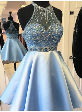 A Line Blue Beading Rhinestone Sleeveless Halter Sheer Back Satin Homecoming Dresses