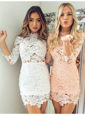 Long Sleeve Jewel Lace Flowers Sheath Hollow Sexy Short Homecoming Dresses
