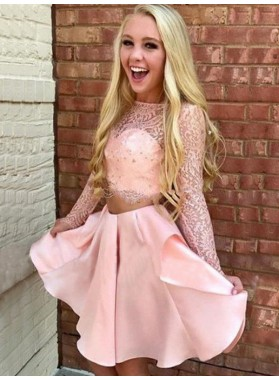 Long Sleeve Jewel Two Pieces Lace Satin A Line Short Pleated Homecoming Dresses