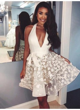 Halter Deep V Neck A Line Appliques Bowknot Backless Flowers Homecoming Dresses