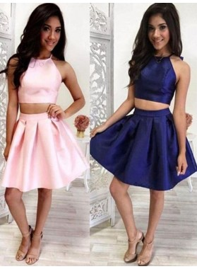 Halter Sleeveless Two Pieces Satin Pleated A Line Above Knee Homecoming Dresses