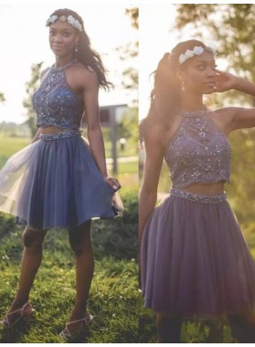 Halter Sleeveless A Line Pleated Two Pieces Tulle Beading Short Homecoming Dresses