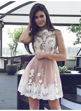 Sleeveless Jewel A Line Dusty Rose Appliques Lace Pleated Short Homecoming Dresses