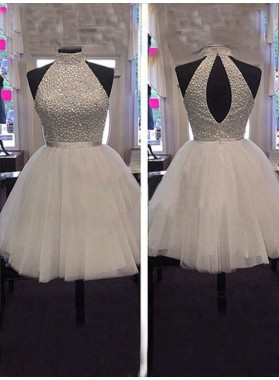 Tulle Sleeveless Halter Backless Cut Out Pleated A Line White Beading Homecoming Dresses