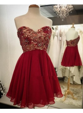 Backless Strapless Sweetheart A Line Chiffon Red Pleated Lace Beading Homecoming Dresses