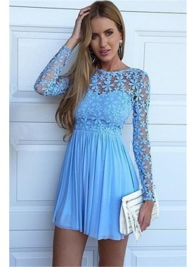 Jewel Long Sleeve Blue Lace Hollow A Line Chiffon Flowers Pleated Homecoming Dresses