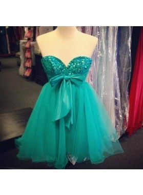 Strapless Sweetheart Bowknot Hunter A Line Tulle Pleated Backless Homecoming Dresses