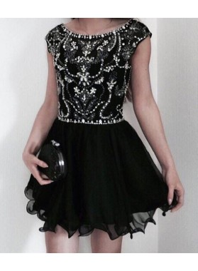Scoop Cap Sleeve A Line Organza Pleated Beading Rhinestone Short Homecoming Dresses