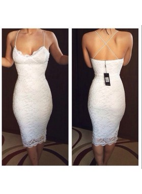Spaghetti Straps White V Neck Criss Cross Backless Lace Flowers Sheath Homecoming Dresses