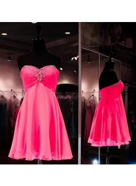 Strapless Sweetheart A Line Pleated Backless Fuchsia Chiffon Ruched Homecoming Dresses