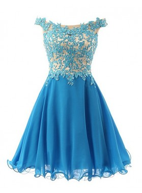 Off The Shoulder A Line Chiffon Blue Pleated Appliques Flowers Homecoming Dresses