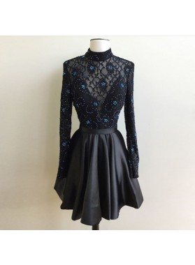 Lace A Line Beading Satin Pleated Black Long Sleeve High Neck Short Homecoming Dresses