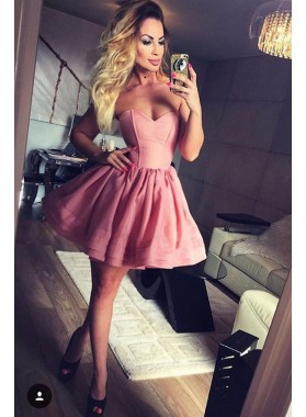 Strapless Sweetheart A Line Pink Pleated Satin Backless Short Homecoming Dresses