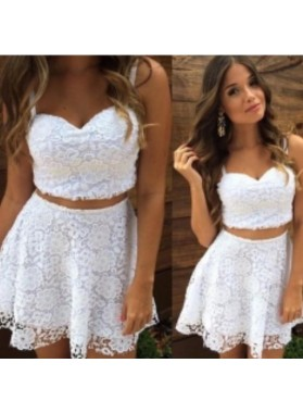 Spaghetti straps Sweetheart Two Pieces Lace White A Line Short Homecoming Dresses