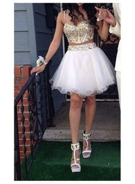 Spaghetti Straps Two Pieces Rhinestone Organza White Sweetheart A Line Homecoming Dresses