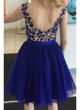 Backless Sleeveless A Line Royal Blue Tulle Appliques Pleated Homecoming Dresses