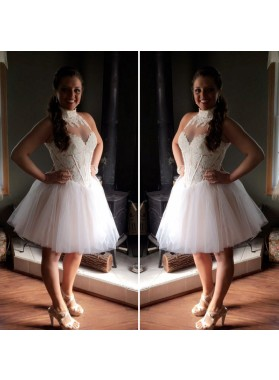 High Neck Sleeveless Ivory Sheer Ball Gown Appliques Pleated Tulle Homecoming Dresses