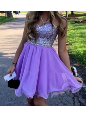 Strapless Sweetheart Beading A Line Pleated Lilac Chiffon Short Homecoming Dresses