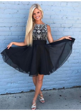 Jewel Sleeveless A Line Chiffon Pleated Beading Rhinestone Short Homecoming Dresses