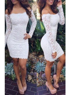 Off The Shoulder White Long Sleeve Sheath Lace Flowers Short Homecoming Dresses
