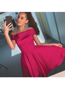 Off The shoulder Fuchsia Short Sleeve A Line Pleated Taffeta Simple Homecoming Dresses