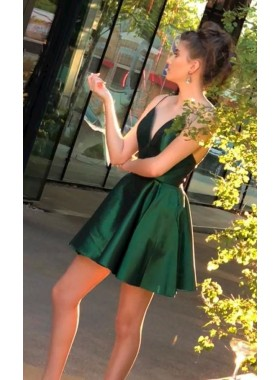 Deep V Neck Spaghetti Straps Short Satin Dark Green Pleated Homecoming Dresses