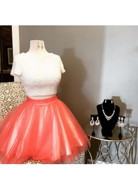 Beading Short Sleeve Two Pieces Tulle Backless Jewel Short Homecoming Dresses