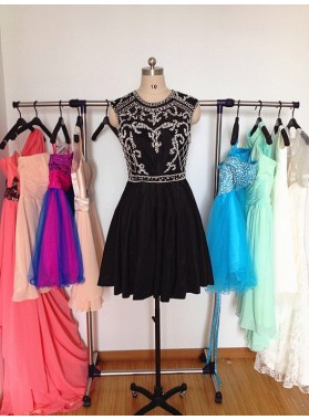 Jewel Sleeveless A Line Satin Pleated Appliques Beading Black Short Homecoming Dresses