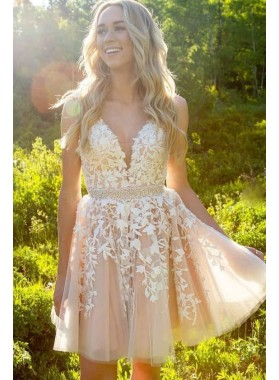 Spaghetti Straps Ivory V Neck Lace A Line Appliques Tulle Beading Mini Homecoming Dresses