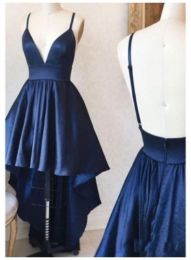 High Low Navy Blue Deep V Neck Spaghetti Straps Backless A Line Satin Homecoming Dresses