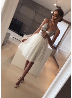 Deep V Neck Spaghetti Straps Ball Gown Tulle Pleated Sexy Homecoming Dresses