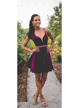 A Line Deep V Neck Spaghetti Straps Pleated Short Backless Cut Out Homecoming Dresses